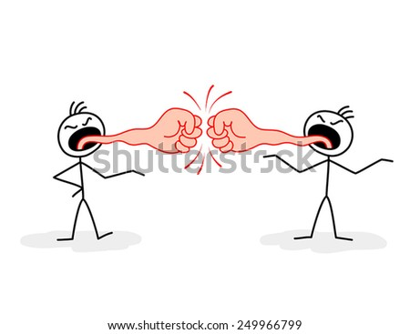 Two stylized figures of disgruntled men with tongues in form of fists - stock vector