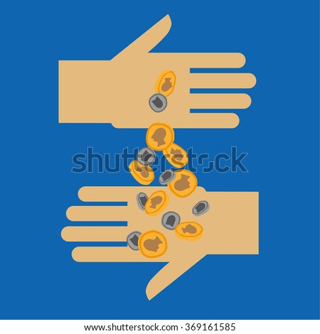 Two stylized opposing hands with one hand pouring gold and silver coins into the other as a concept for donating or funding - stock vector