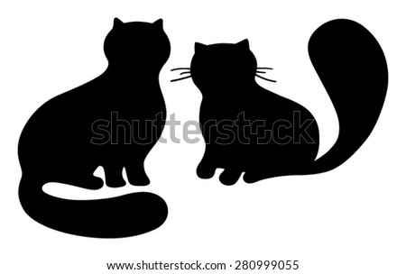 Two stylized sitting persian cats, vector illustration - stock vector