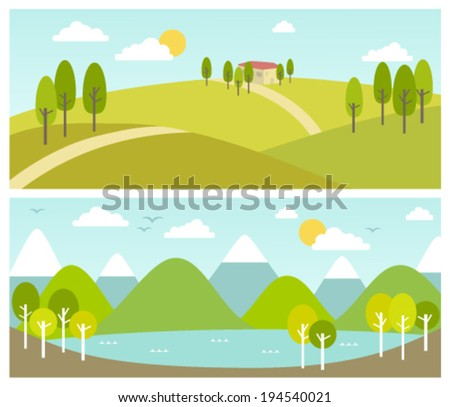 two summer landscape banners - stock vector