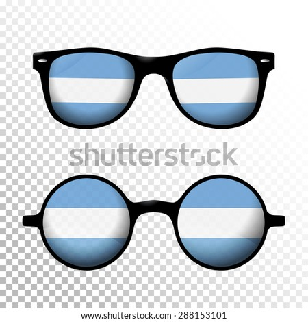 Two Sunglasses with Argentina national flag lens. Round and squared frame - stock vector