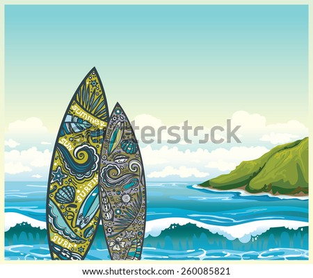Two surfboards and blue sea with waves on a cloudy sky. Vector nature illustration. - stock vector