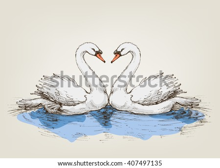 Two swans on lake love symbol - stock vector