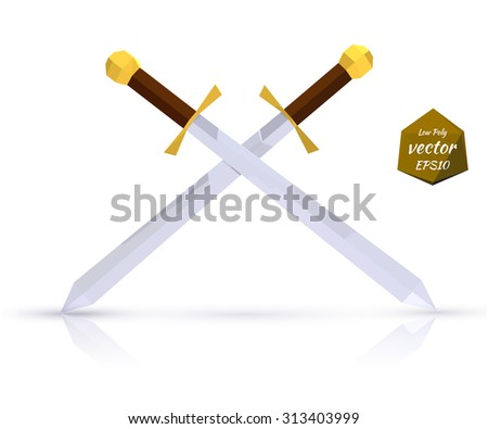 Two swords on a light background with reflection. Low poly style. Vector illustration. - stock vector
