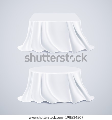 Two tables with white tablecloths, eps 10 - stock vector