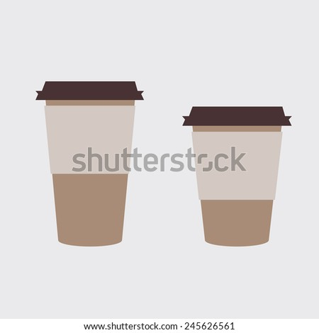 Two takeaway coffee cup template - stock vector