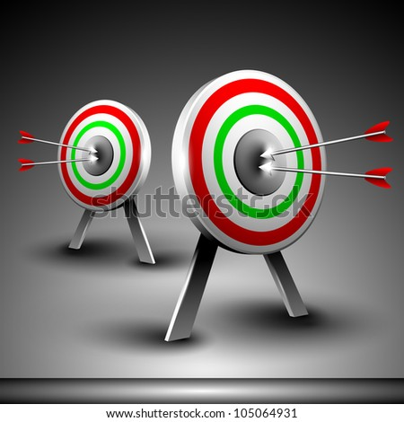 Two targets with hitting darts isolated on grey background. EPS 10. - stock vector