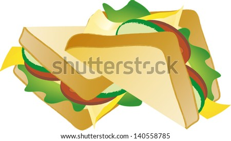 Two tasty  sandwiches on white background, vector illustration - stock vector