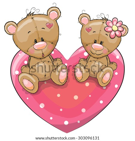 Two Teddy Bears on a background of heart