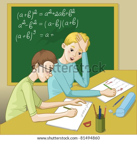 Two teenagers in a classroom resolving mathematical exercises - stock vector