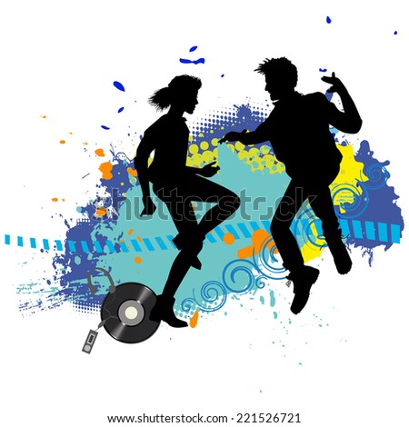 Two teens on a disco  - stock vector