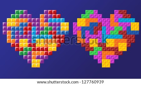 Two tetris hearts, different figure design, solid figures, fully editable vector, layered - stock vector