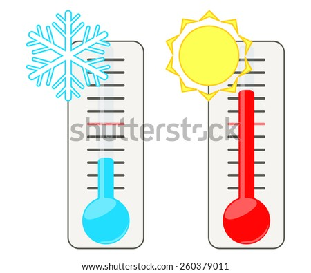 Two thermometers show the cold and heat. - stock vector