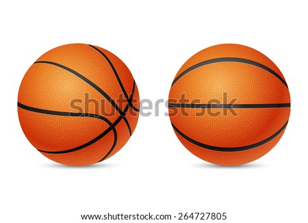 Two three-dimensional basketballs, front and half-turn view, isolated on white background. Vector EPS10 illustration.  - stock vector