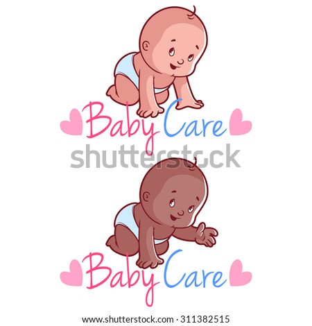 Two toddler. Vector illustration on a white background. Baby care logo - stock vector
