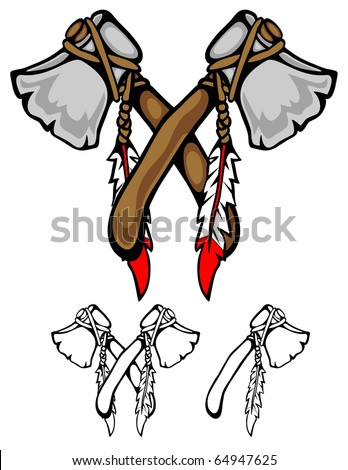 two tomahawks crossed in a stylized design.