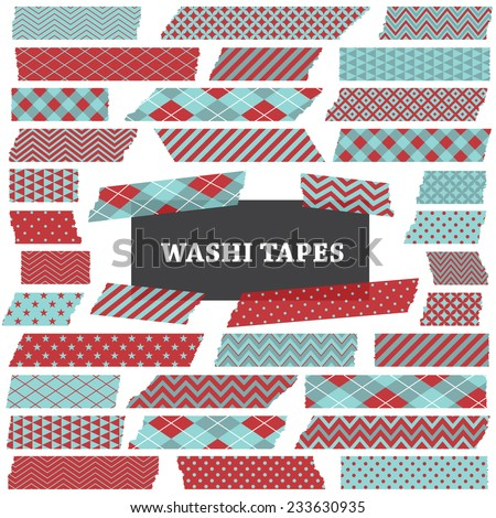 Two Tone Aqua Blue and Red Washi Tape Strips. Semitransparent. Photo Frame Border, Clip Art, Scrapbook Embellishment. Argyle, Gingham, Stars, Polka Dot and Stripes. Global colors used in vector file.  - stock vector