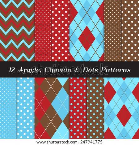 Two Tone Blue, Red, Brown and White Chevron, Argyle and Polka Dot Patterns. Sock Monkey Style Background. Vector EPS File Contains Pattern Swatches Made with Global Colors. - stock vector