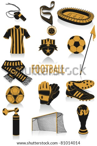 Two-tone silhouettes of football objects, part of a new collection of fashion and lifestyle objects. - stock vector