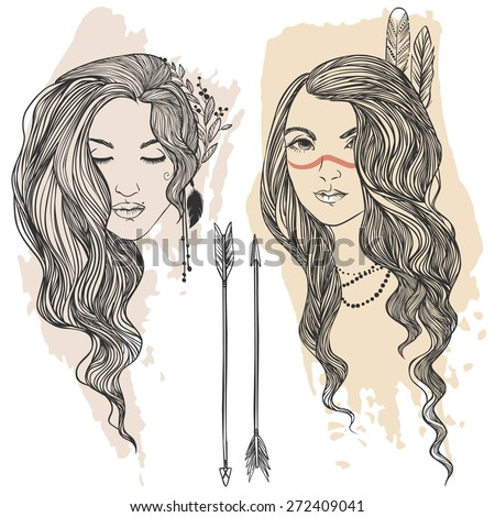Two touyng and beautiful hippie girls. Vector hand drawn illustration - stock vector
