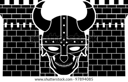 two towers and skull of viking. vector illustration - stock vector