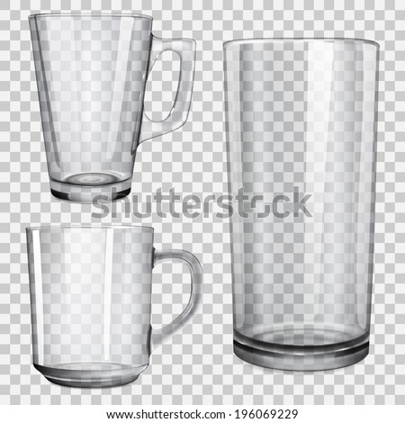 Two transparent glass cups and one glass for juice. On checkered background. - stock vector