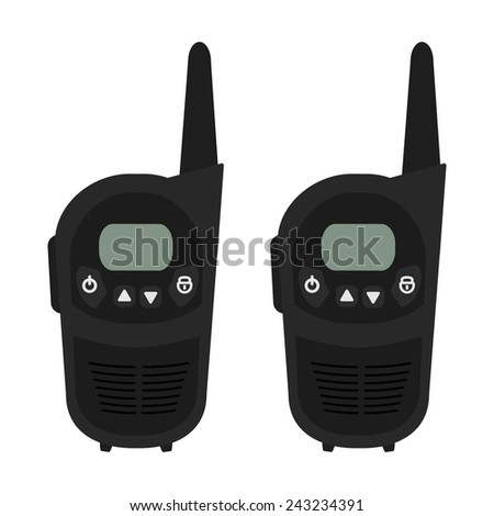 Two travel black portable mobile vector radio set devices. Color vector clip art illustration isolated on white - stock vector