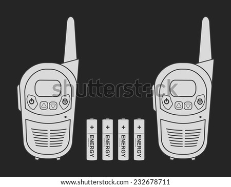 Two travel portable mobile vector radio set devices wit 4 accumulator batteries. Chalkboard illustration isolated on black - stock vector