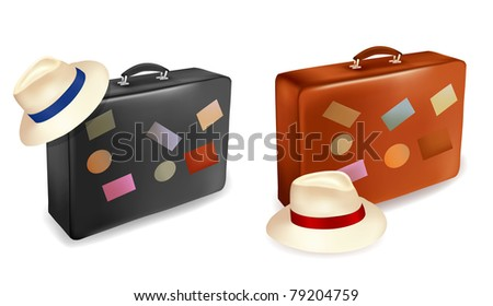 Two travel suitcases and hats.  Vector illustration. - stock vector