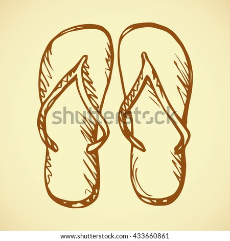 Two travel swimwear sandles isolated on beige background. Freehand ink hand drawn picture sketchy in scribble retro style pen on paper. Top close-up view with space for text on sandy sea shore - stock vector