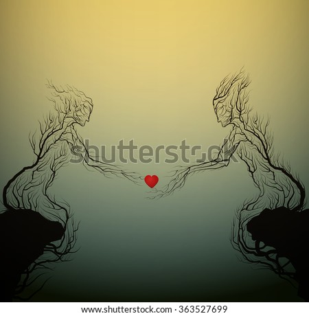 two tree silhouettes like a man and woman holding red heart and growing on the opposite rock, Valentine`s day plant decoration, love forever, people like plant, vector - stock vector