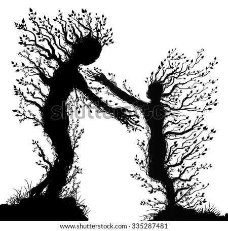 two tree silhouettes look like man and woman with stretching arm to each other, plant surrealism,  fairy tree silhouettes two tree souls on white background, vector. - stock vector