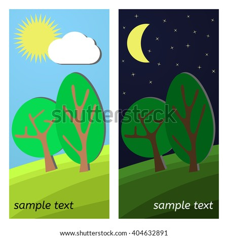 Two Trees. Day and Night on a Clearing. - stock vector