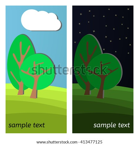 Two Trees. Day and Night on a Clearing in the Forest. - stock vector