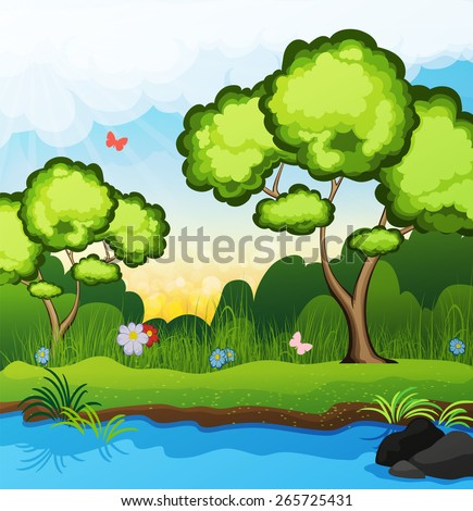 Two trees on the riverbank. Butterflies fly over the grass. spring landscape - stock vector