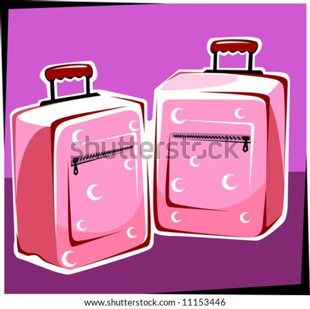 two trolley bags - stock vector