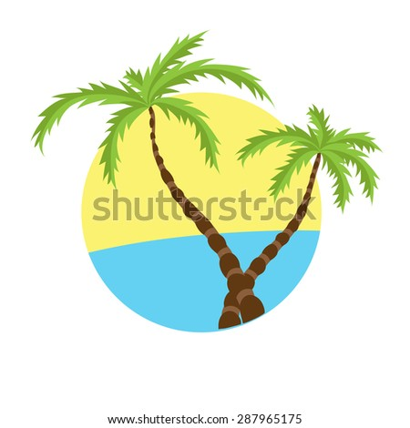 Two tropical palms on island with sea. Vector logo. - stock vector