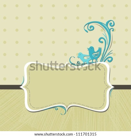 two turquoise birds on beige dotted background delicate invitation card with brown dark ribbon