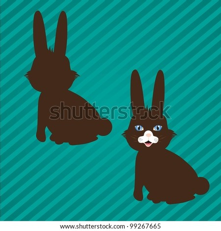 two types of bunny silhouettes on a background of lines - stock vector