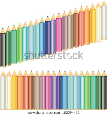 two types of 19 colored pencils set. Vector icon