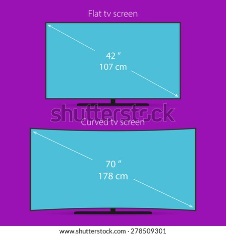 Two types of tv screen. Flat and curved. Space for your  value of a diagonal. - stock vector