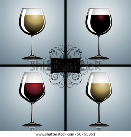 Two types of wineglasses with different wines inside. - stock vector