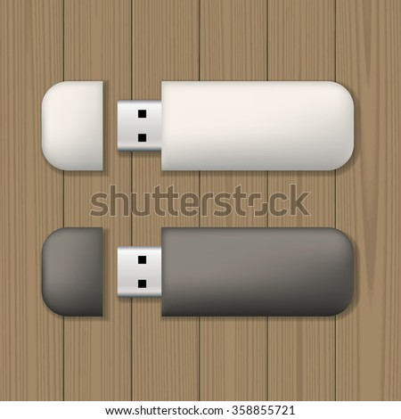 Two usb memory sticks on wooden background. Blank template. Business identity mock up. Vector illustration. - stock vector