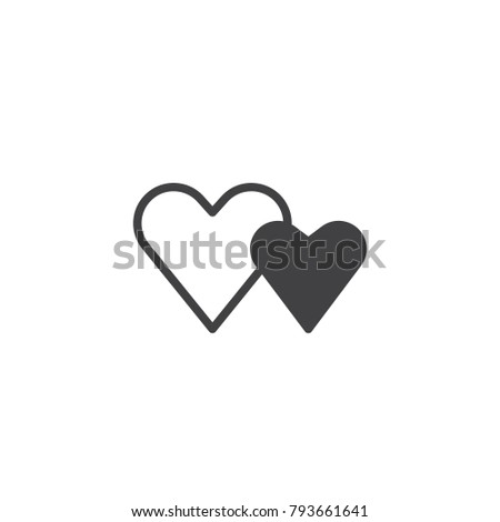 Two Valentine Hearts Icon Vector Filled Stock Vector 793661641