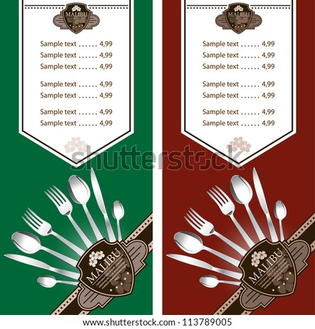 Two variants restaurant menu design on green and on dark red background. Vector. Grouped for easy editing. - stock vector