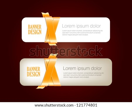 Two vector banners braided with golden yellow silky glossy ribbons