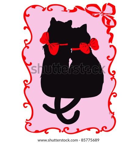 Two vector black cats in love- valentine invitation card , in frame - stock vector