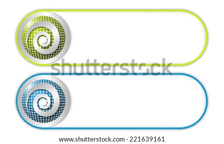 two vector buttons with grid and spiral - stock vector
