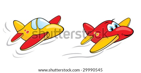 Two vector cartoon airplanes. One with cute, happy and smiling face.