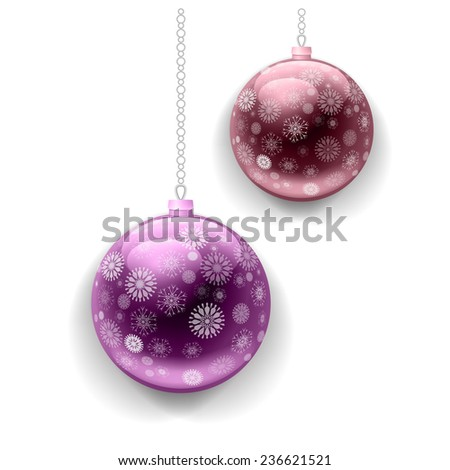 Two vector Christmas balls with snowflakes - stock vector